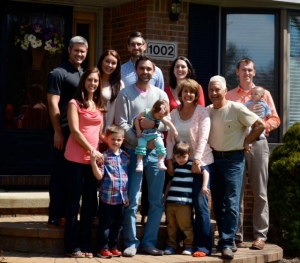 Here we all are in front of the home my parents built together.