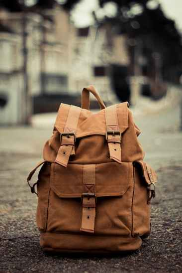close up photo of brown backpack